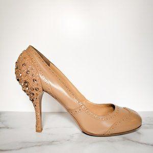 MIU MIU embellished crystal heel pumps nude oxford